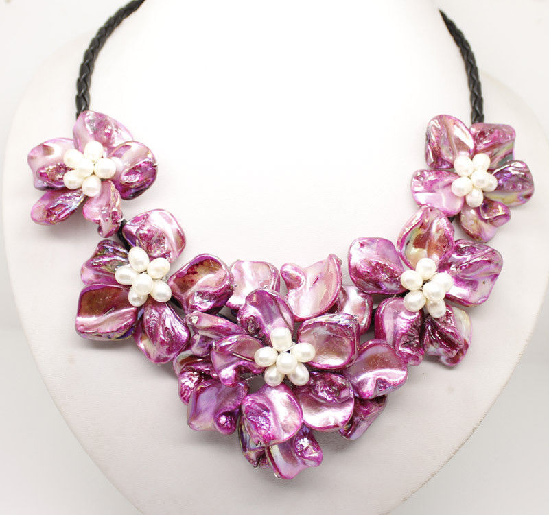 "Купить с кэшбэком Natural White Pearl Shell Mother of Pearl 5 Flower Pendant Necklace 18"" Long Choose color"