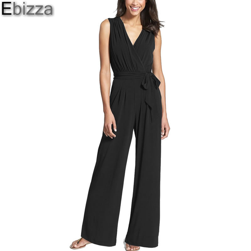 Ebizza 2017 Summer Elegant V-Neck Sleeveless Slim Sashes Pockets Jumpsuit Rompers Women Back Zipper Wide Overalls Fashion Femme