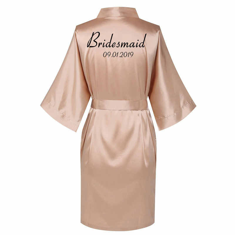 Personalized Robes Satin Silk Printed Gown Wedding Bride Bridesmaid Robe 001