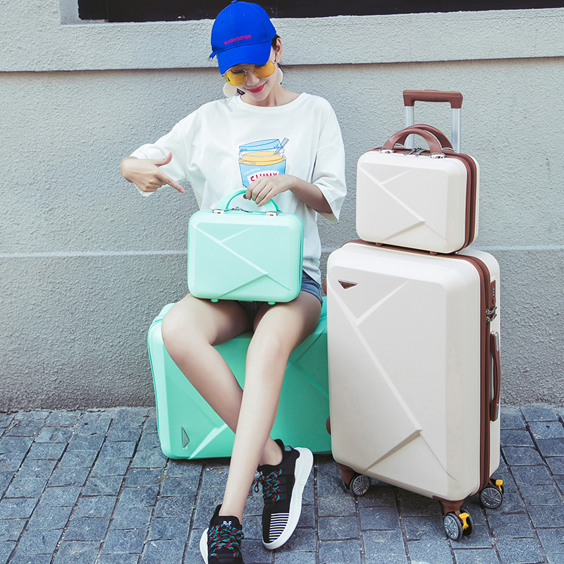 Expressive Fashion Rolling Luggage For Women With Cosmetic Bag Spinner Carry On Set Suitcase Boarding Trolley Case 20/22/24/26 Inch Luggage & Travel Bags Rolling Luggage