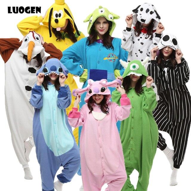 ab470b32cbbb6c Marka Dorosłych Piżama Dla Kobiet Mężczyźni Lilo i Stitch Pokemon Cosplay  Costume Kombinezon Polar Zwierząt Piżama