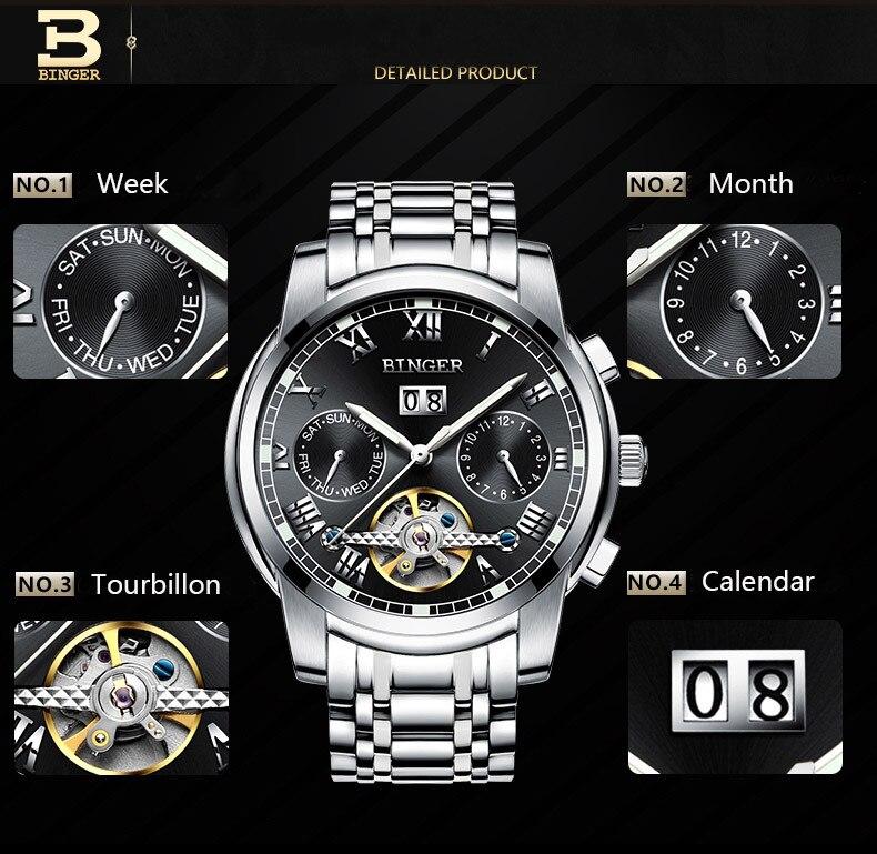 Genuína Marca Suíça BINGER safira relógios Dos