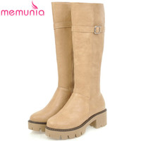 MEMUNIA PU Soft Leather Knee High Boots High Heels 5cm Platform Shoes Woman Fashion Boots Female