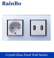Rainbo Europese standaard power socket + USB Socket USB Outlet Wit Glas Panel AC Wall Power smart outlet Socket A28E82USW/B