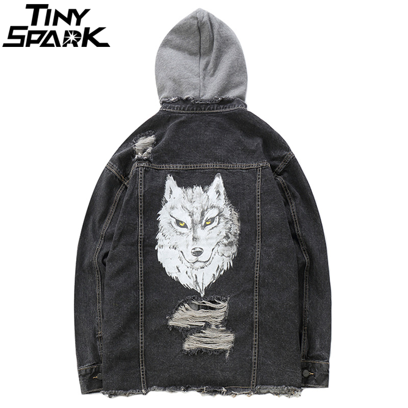 Mens Distressed Denim Bomber Jackets 3D Wolf Hoodie Jacket Jeans Streetwear Autumn 2018 Ripped Holes Hooded Denim Jacket Hip Hop