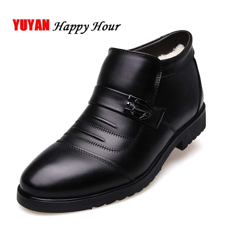 100% Genuine Leather Winter Boots Men Winter Shoes Cowhide Leather Warm Shoes Plush Black Chelsea Boots Man Ankle Booties KA439