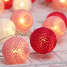 1M 10 LEDs String Light Brand New Cotton Ball Fairy Iluminación de vacaciones para Navidad Ramadan Wedding Party Linternas Decoración IL