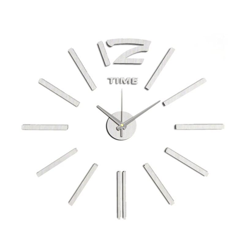 Nový příchod kutilství kreativní nástěnné hodiny módní pasta EVA stříbrná číslice dekorace hodiny 60x60cm10EM103S