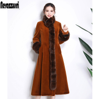 Nerazzurri Faux fur coat women with detachable fox fur collar warm furry full skirt fake sheared mink overcoat plus size 5xl 6xl