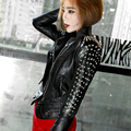 Unique Design Europe Women Short Motorcycle Leather Jacket Fashion Punk Rivet Jacket Stand Collar Slim Streetwear Jackets