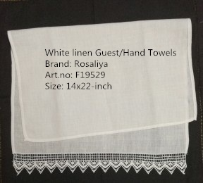 Set Of 12 Home Garden Hand Towels Linen Lace Border Tea Towel 14X22-inch Cleaning Cloth Guest Hand Dish Kitchen Bathroom Towels