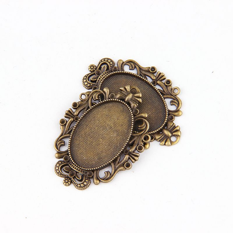 5pcs DIY Antiqued Bronze Vintage Alloy Crown Oval Cameo Cabochon Base Setting Necklace Pendant Tray 20*30mm Jewelry Blanks