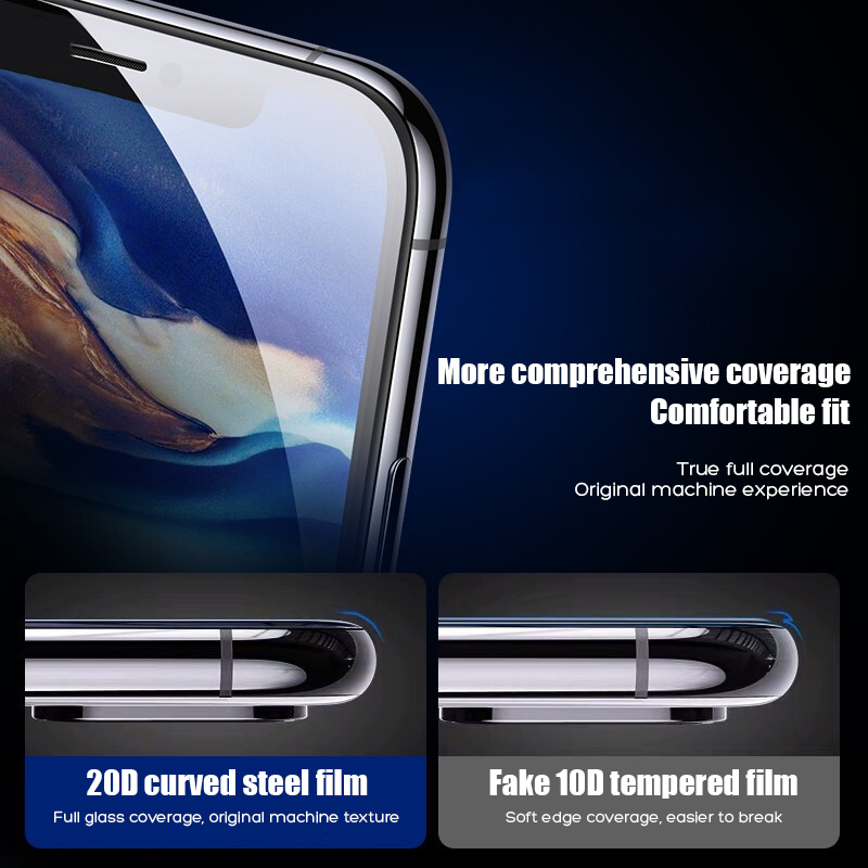 Image 4 - 20D Protective Tempered Glass On The For iPhone 6 6s 7 8 Plus X Glass Screen Protector Film For iPhone X XR Xs Max Glass Cover-in Phone Screen Protectors from Cellphones & Telecommunications