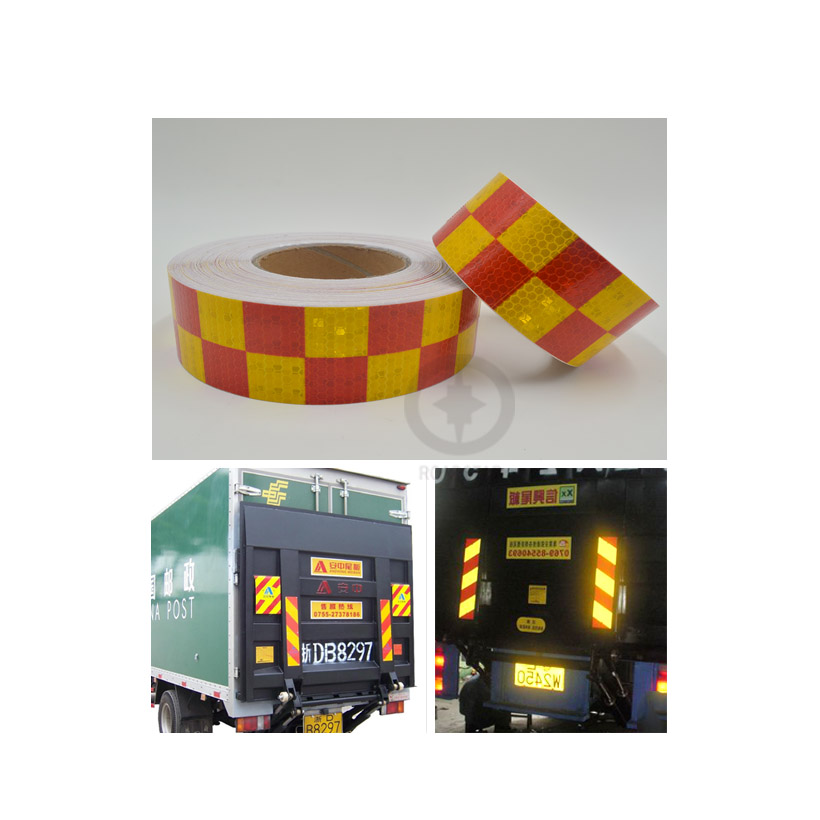 5cmx3m Shining Reflective Warning Self-Adhesive Stikcer With Red White Color Square Printing For Car& Motorcycle