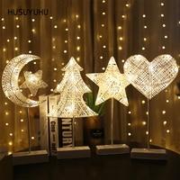 HUSUYUHU Grass Rattan Woven Table Lamp Star Heart Moon Christmas Tree Battery Powered Girls Room Night Light Bedroom Decorative