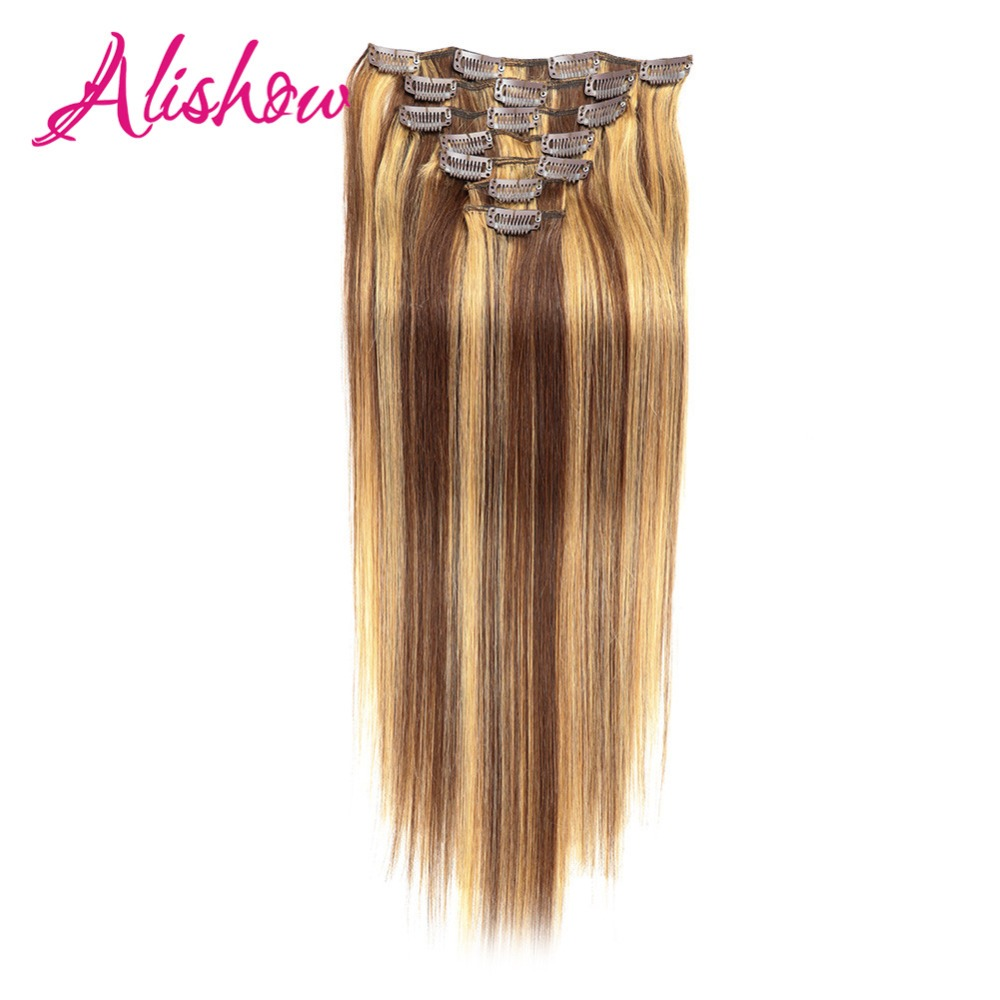 Alishow Clip In Human Hair Extensions Straight Full Head Set 7pcs 100g Machine Made Remy Hair Clip Ins 100% Human Hair Extension ...