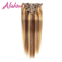 Alishow Clip In Human Hair Extensions Straight Full Head Set 7pcs 100g Machine Made Remy Hair