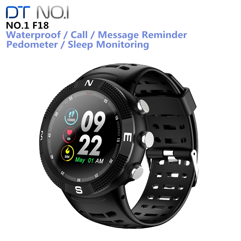 <font><b>NO.1</b></font> <font><b>F18</b></font> Smartwatch Sports Bluetooth 4.2 IP68 Waterproof Call Message Reminder Pedometer Sleep Monitoring For Android IOS image