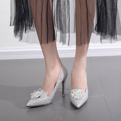 F Strass Couvert Chaussures Pointu N Haute Bout De Jack Bling Partie Silver Cendrillon Femmes Mariée Cristal Pompes Chic Talons Mariage OOprqx6