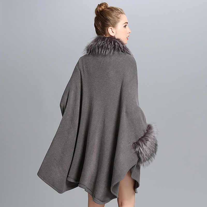 Winter Neue Frauen Mode Lange Waschbär Pelz Mantel Lose Großzügig Kaschmir Kap Schal Pelz Strickjacke Pullover