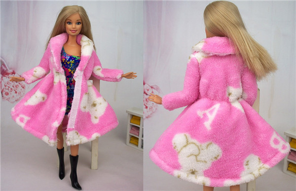 New 2015 White & Pink Plush Lint Coat Winter Put on Costume Snowsuit Clothes Outfit Garments For 1/6 Kurhn Barbie Doll