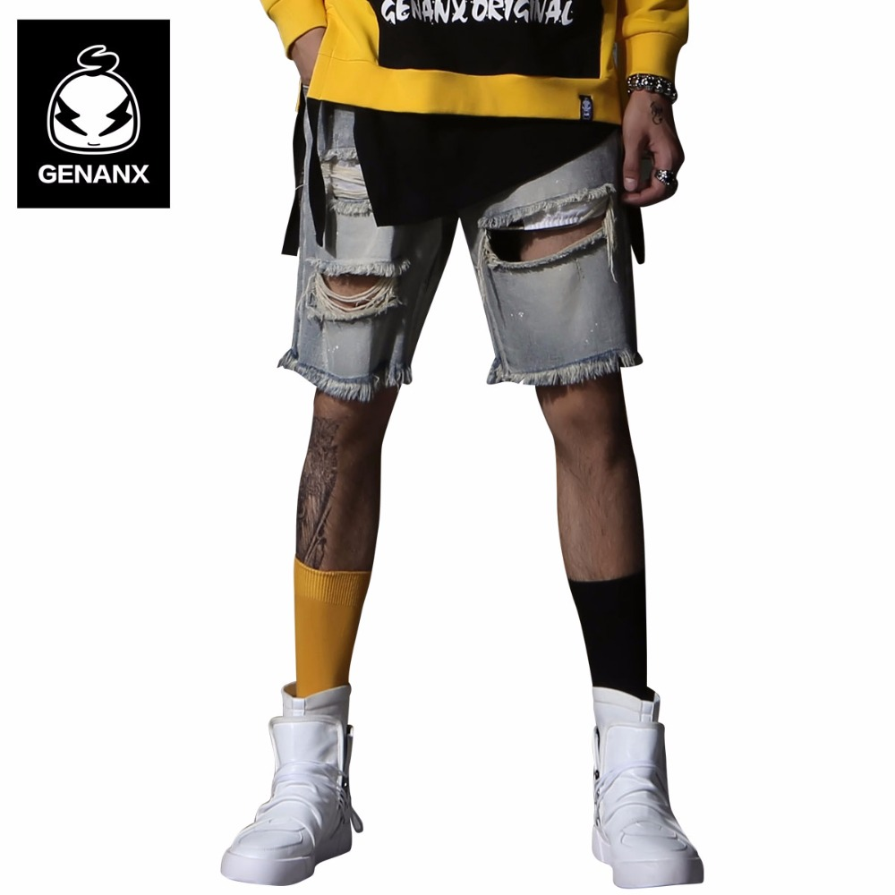 Genanx Brand Broken Hole Jean Shorts Man Fashion Loose Shorts Men Knee Length Jeans Shorts Size 29-36 italian style fashion men s jeans shorts high quality vintage retro designer classical short ripped jeans brand denim shorts men