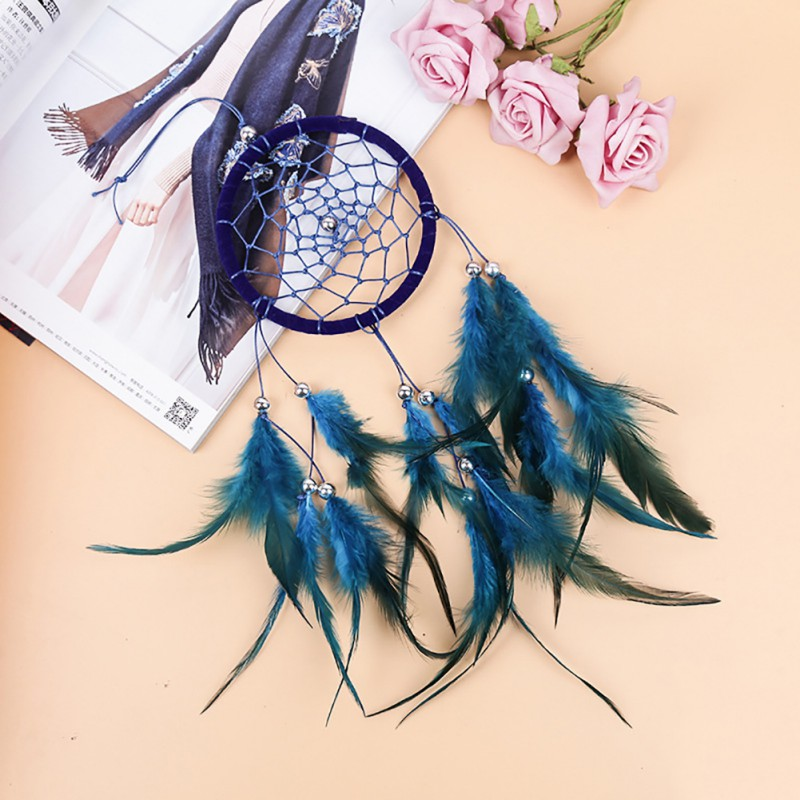 US $1 71 24% OFF|Blue Dream Catcher India Hanging Decoration Dreamcatcher  For Home Bedroom Living Room-in Wind Chimes & Hanging Decorations from Home