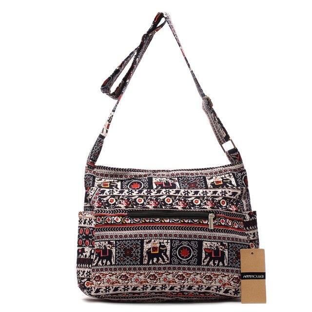 Women Shoulder Bag Cotton Fabric Flap Bag Bohemian Style Messenger Bag Elephant Print Crossbody Zipper Bag 4