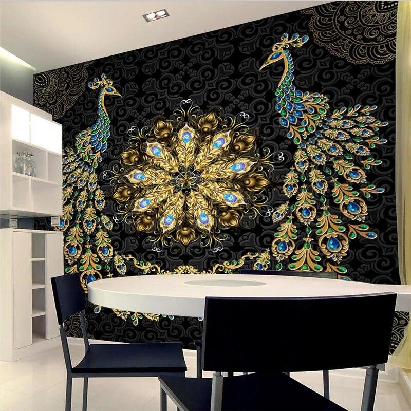 wellyu papier peint personnalise de luxe noir or