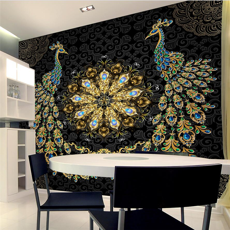 Wellyu Papel De Parede Para Quarto Custom Wallpaper Luxury Black Gold Gem Peacock Background Wall Papel Parede Wall Paper