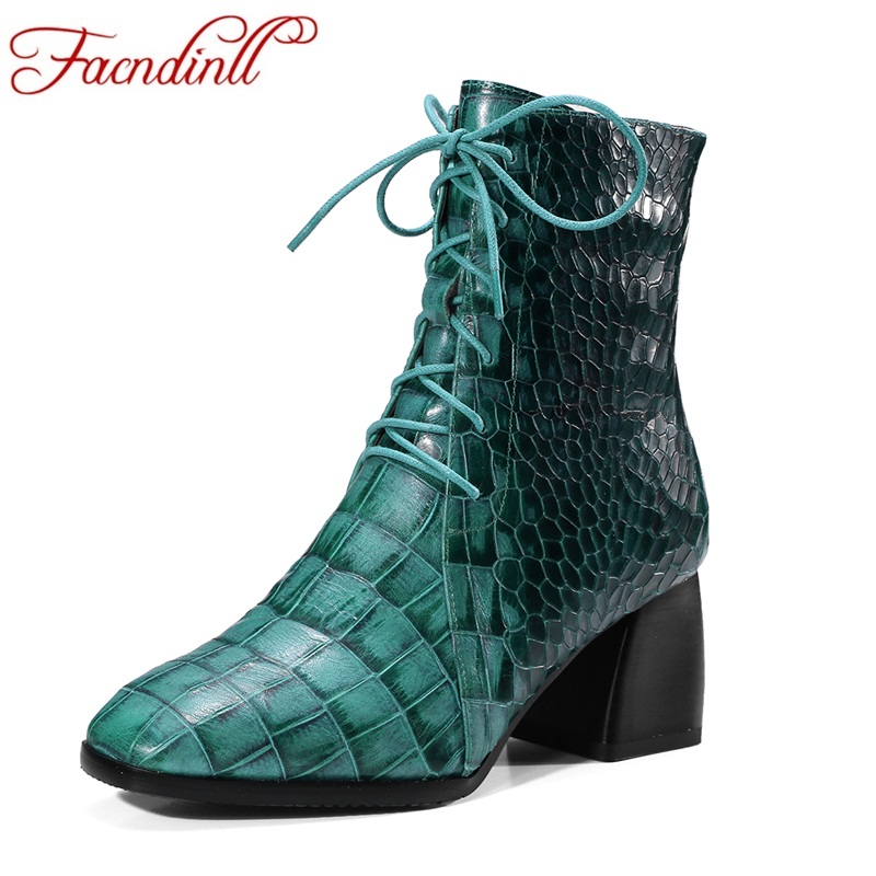 FACNDINLL cow leather ankle boots fashion square toe thick heel women short boots high heel genuine leather lady riding boots facndinll genuine leather sandals for