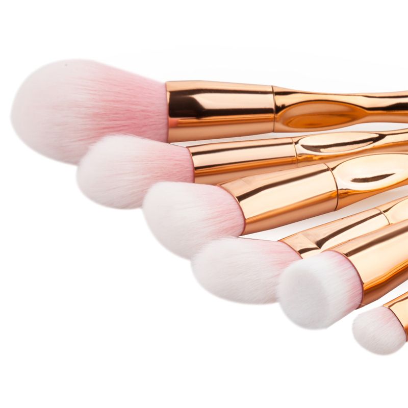 12pcs Makeup Brushes Set Rose Gold Nylon Hair Cosmetic Brush Eyebrow Foundation Powder Blush Eyeshadow Make Up Beauty Tools Kit купить