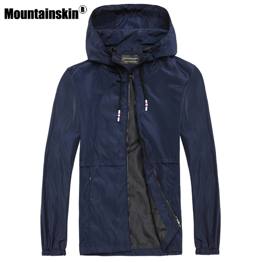 Mountainskin 2017 Solid font b Men s b font Jackets 6XL Spring Casual Hooded Jackets Men