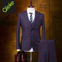 Brand Clothing 2017Fashion 100%Wool men formal wedding suits England Plaid woolen men tuxedo men dress suits prom coat/vest/pant