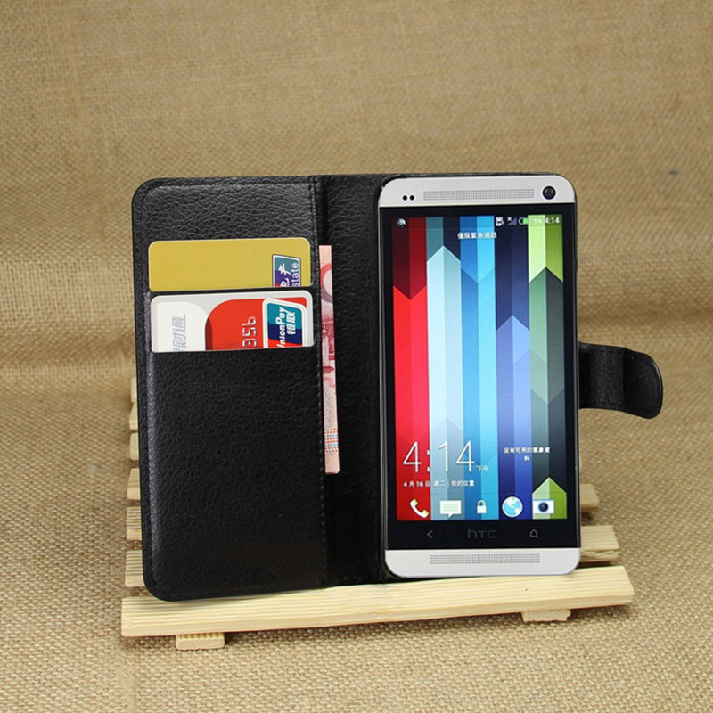 For HTC One M7 801E Dual Sim Leather Flip Case Cover For HTC M7 802t 802d 802w Walllet Phone Bags Cases TPU Shell Card Holders image