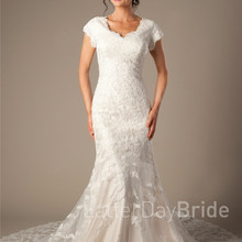 cecelle Vintage Mermaid Wedding Dresses With Cap Sleeves