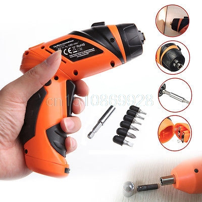 6V Portable Screwdriver Electric Drill Battery Operated Cordless Wireless +Screw M126 Hot Sale