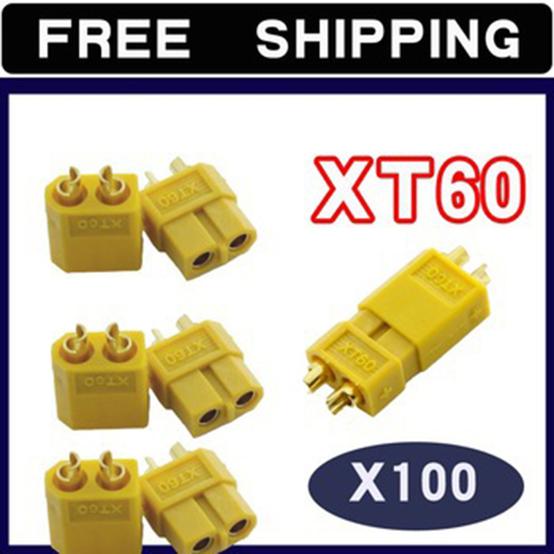 100pair XT60 Bullet Connectors Plugs Male / Female for lipo battery ESC motor new 5 pairs xt60 male female bullet connectors plugs for rc lipo battery p101