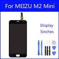 Original digitador da tela de lcd para meizu m2 mini display meiblue m2 tela sensível ao toque de substituição do painel de vidro de 5 polegada freetools