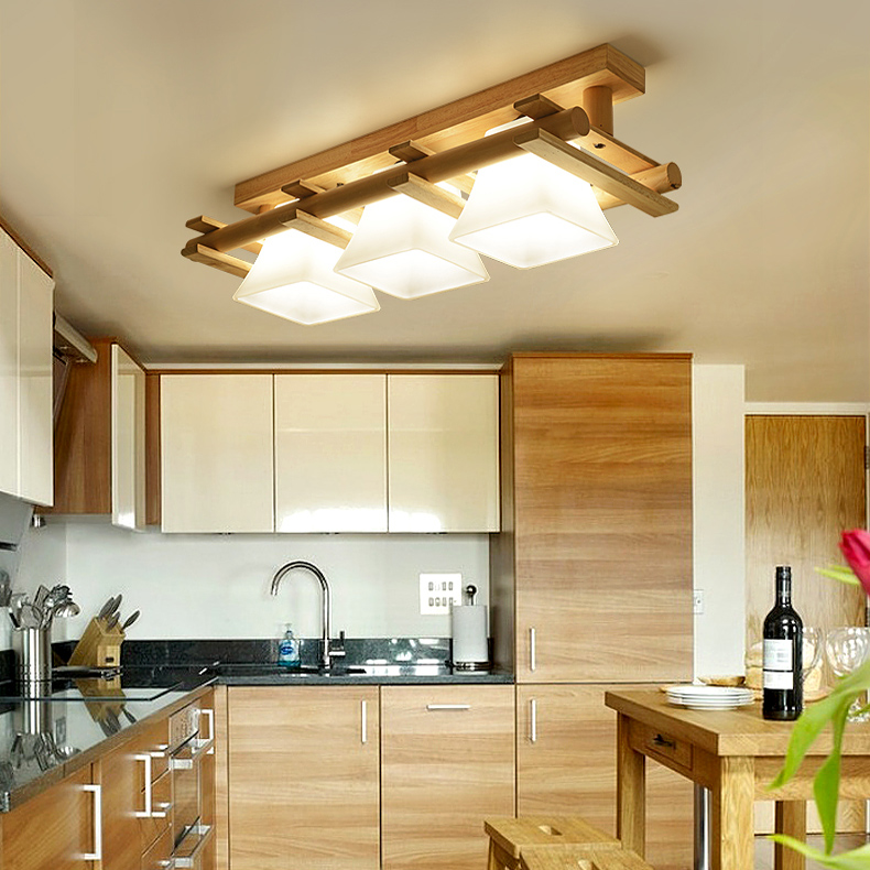 Solid wood ceiling lamp balcony American Scandinavian new chinese aisle lights corridor light LED Ceiling Lights