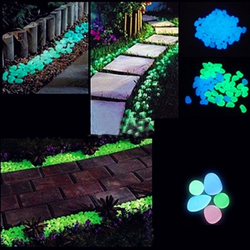 100pcs Luminous Stones Glow In The Dark Pebbles Garden Fish Tank Flower Pot Decoration Crafts Wedding Party Supplies Diy Decorations From
