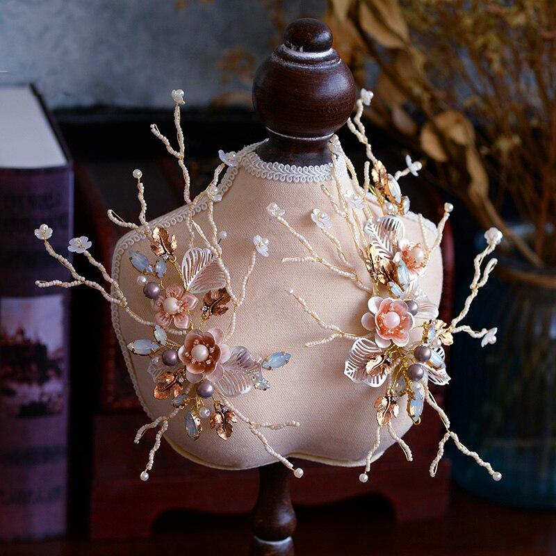 2 pics Lot European Baroque Wedding Barrettes Flowers Tiaras Bridal Gold Headbands Brides Hair Accessory Evening