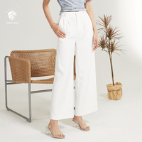 FANSILANEN Fashion New Arrival Summer/Spring Women Pants Trousers Solid White Wide Leg Flare Loose Elastic Waist Z82132