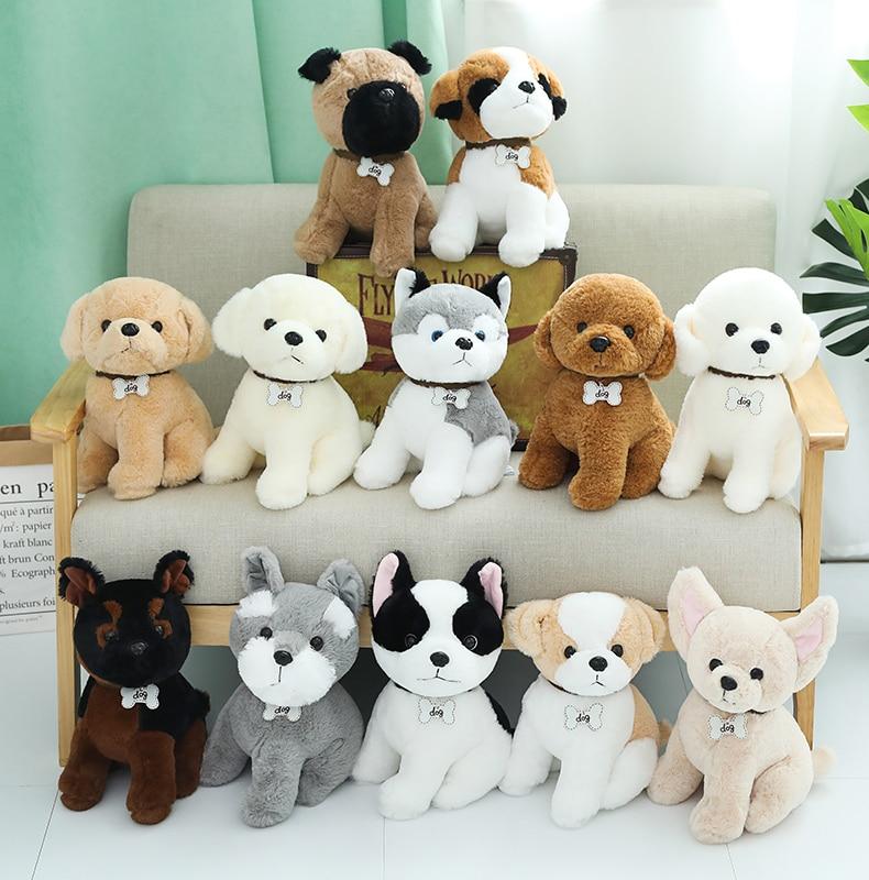 1pc 22/30/40cm Simulation Akita Bichon Boxer Bulldog Poodle Cute Dog-breed Plush Toys For Children Gift Stuffed Soft Doll