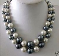 double strands 10 11mm freshwater white black pearl necklace 18 19 14k gold