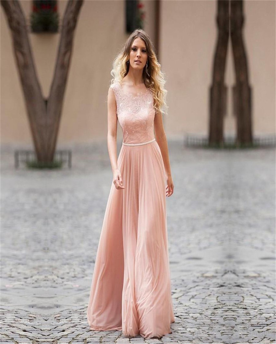 Online get cheap long pink lace bridesmaids dresses aliexpress open back lace up blush pink bridesmaid dresses formal prom party chiffon dress long blush pink ombrellifo Images