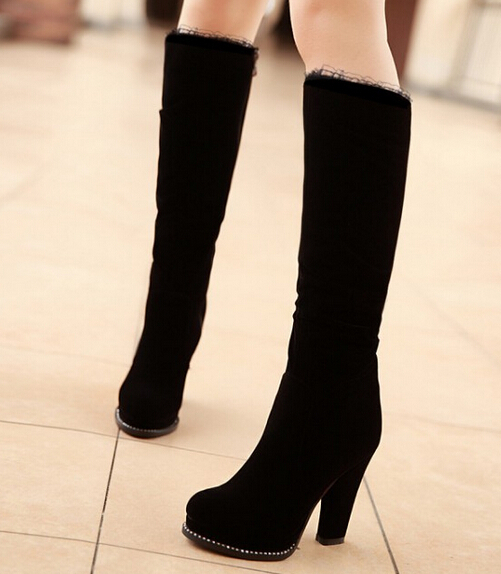 precio bajo selección asombrosa disponible Classic negro grueso de tacón alto botas de gamuza mujeres ...