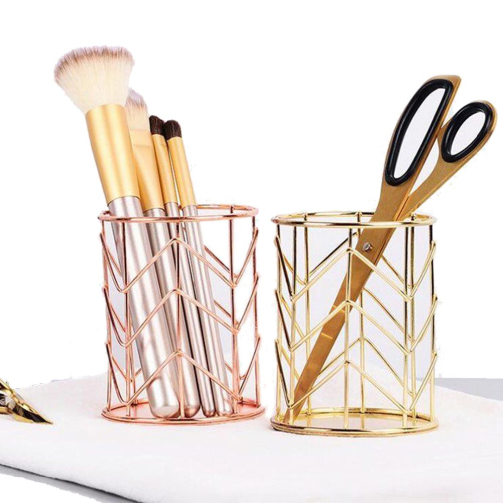 Mayitr Rose Gold Hollow Pen Pencil Pot Holder Makeup Brushes Storage Desk Organiser Container Organizer Desk Stationery Decor