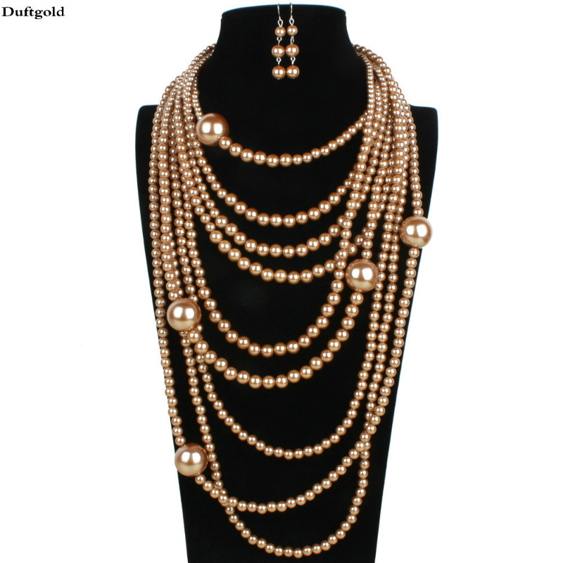 купить 2018 New Luxury Maxi Big Statement Multi layer Simulated Pearl Necklace Earrings Sets For Women Wedding Pearls Jewelry Set Femme по цене 851.9 рублей