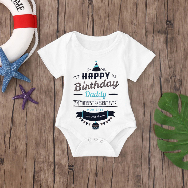 Baby Rompers Cotton Infant Body Short Sleeve Clothing Baby Jumpsuit Happy Birthday Daddy Printed Baby Boy Girl Clothes | Happy Baby Mama